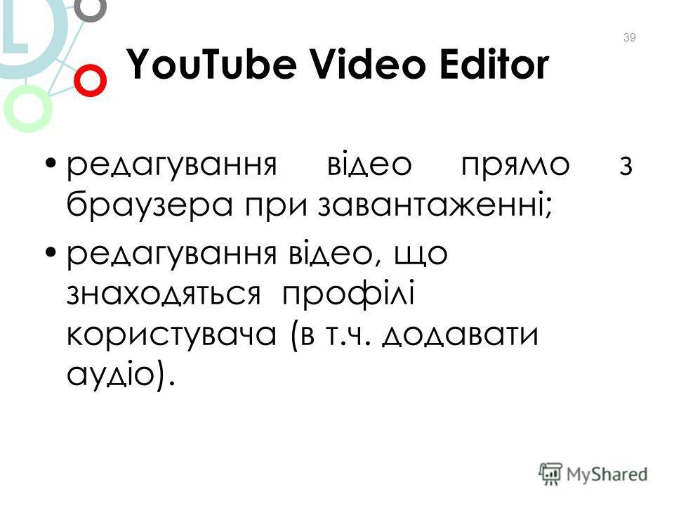YouTube Video Editor редагування відео прямо з браузера при завантаженні; редагування відео, що знаходяться профілі користувача (в т.ч. додавати аудіо). 39 L