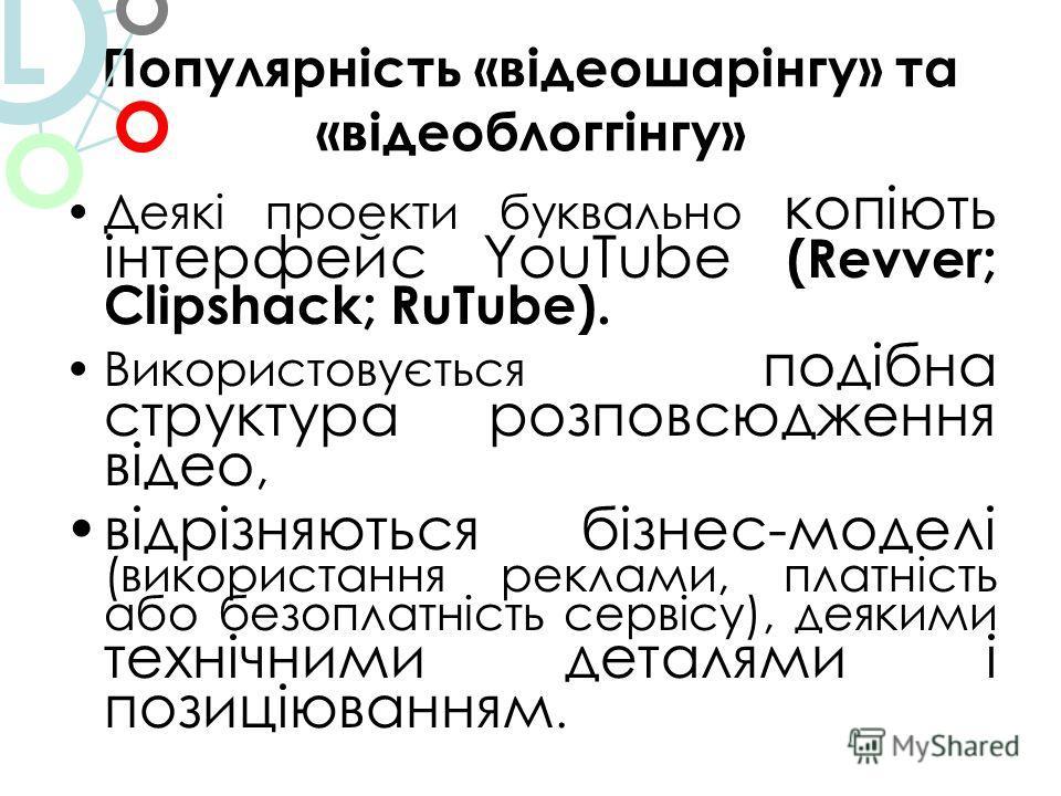 Популярність «відеошарінгу» та «відеоблоггінгу» Деякі проекти буквально копіють інтерфейс YouTube (Revver; Clipshack; RuTube). Використовується подібна структура розповсюдження відео, відрізняються бізнес-моделі (використання реклами, платність або б