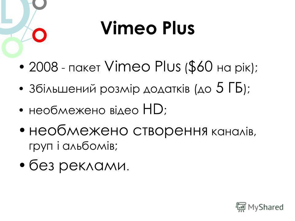 Vimeo Plus 2008 - пакет Vimeo Plus ( $60 на рік); Збільшений розмір додатків (до 5 ГБ ); необмежено відео HD ; необмежено створення каналів, груп і альбомів; без реклами. L