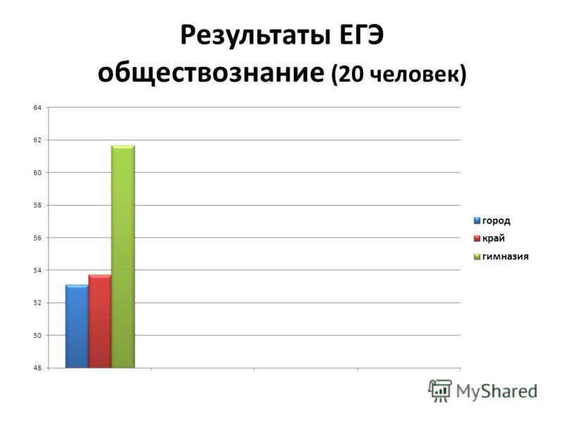 Результаты ЕГЭ обществознание (20 человек)