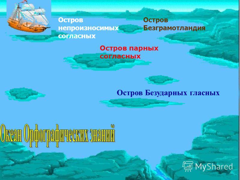 Остров Безударных гласных Остров парных согласных Остров непроизносимых согласных Остров Безграмотландия