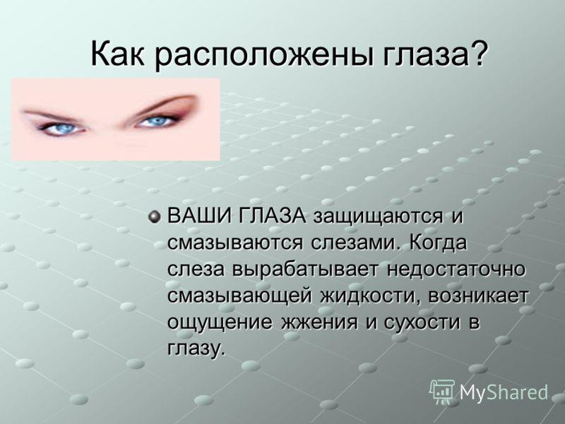 Как расположены глаза? ВАШИ ГЛАЗА защищаются и смазываются слезами. Когда слеза вырабатывает недостаточно смазывающей жидкости, возникает ощущение жжения и сухости в глазу.