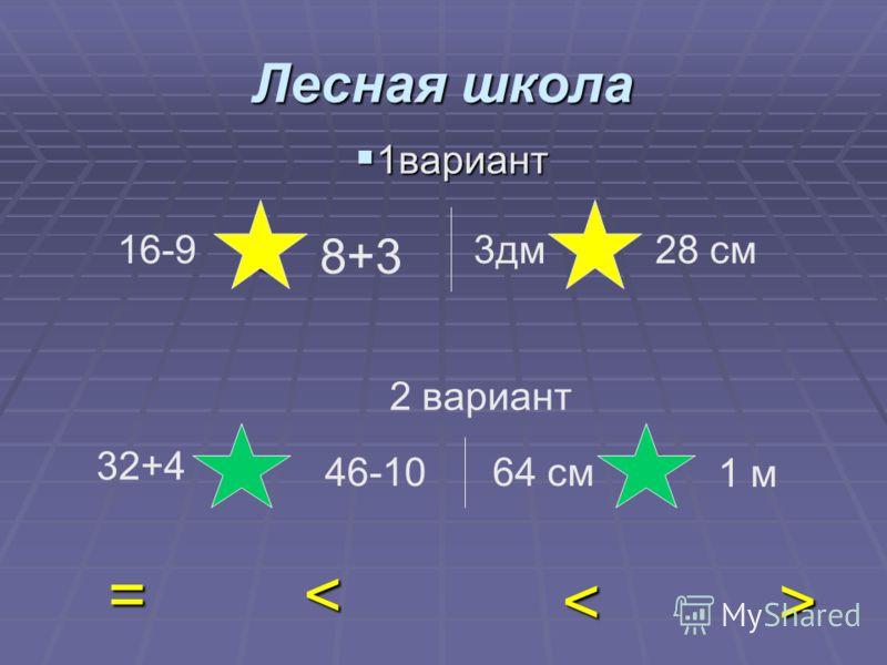 < = > < 8+3 3дм 28 см 32+4 46-1064 см 1 м 1вариант 1вариант 2 вариант 16-9 > < =