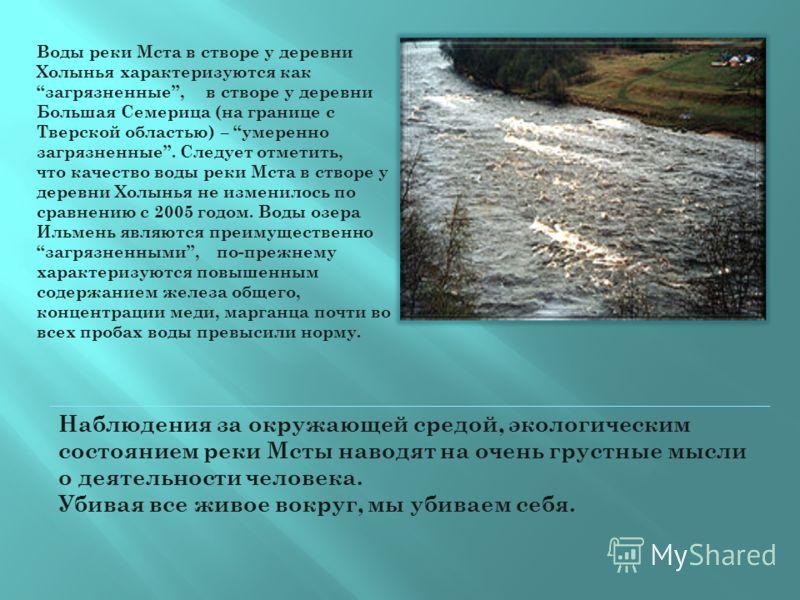 Воды реки Мста в створе у деревни Холынья характеризуются как загрязненные, в створе у деревни Большая Семерица (на границе с Тверской областью) – умеренно загрязненные. Следует отметить, что качество воды реки Мста в створе у деревни Холынья не изме