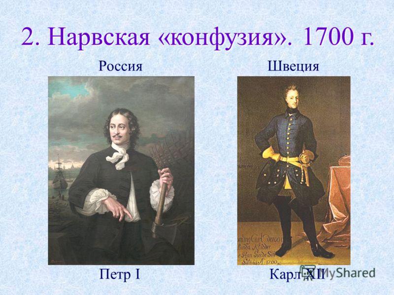 2. Нарвская «конфузия». 1700 г. Карл XII ШвецияРоссия Петр I