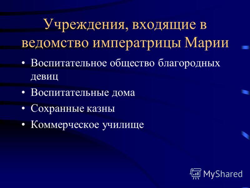 Учреждения, входящие в ведомство императрицы Марии Воспитательное общество благородных девиц Воспитательные дома Сохранные казны Коммерческое училище
