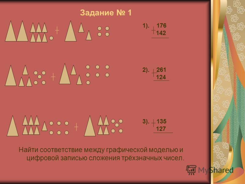 Задание 1 Найти соответствие между графической моделью и цифровой записью сложения трёхзначных чисел. 1). 176 142 2). 261 124 3). 135 127
