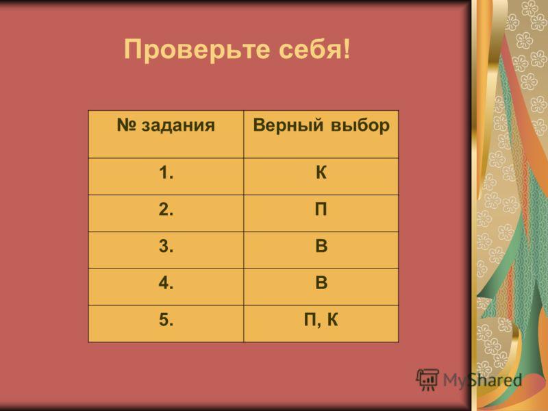 Проверьте себя! заданияВерный выбор 1.К 2.П 3.В 4.В 5.П, К