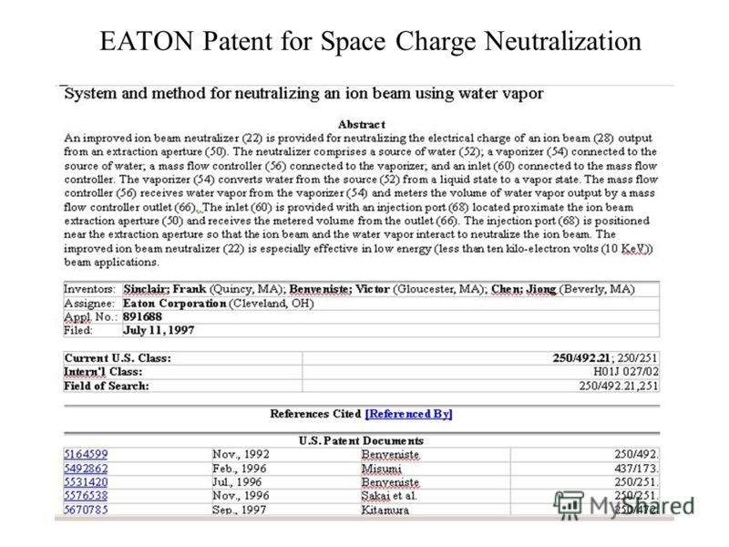 EATON Patent for Space Charge Neutralization