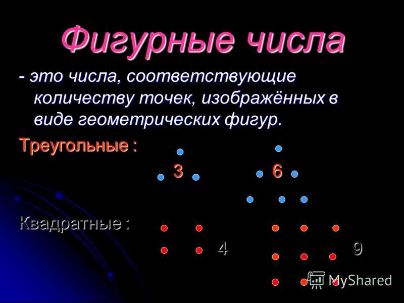Фигурные числа - это числа, соответствующие количеству точек, изображённых в виде геометрических фигур. Треугольные : 3 3 6 6 Квадратные : 4 4 9 9