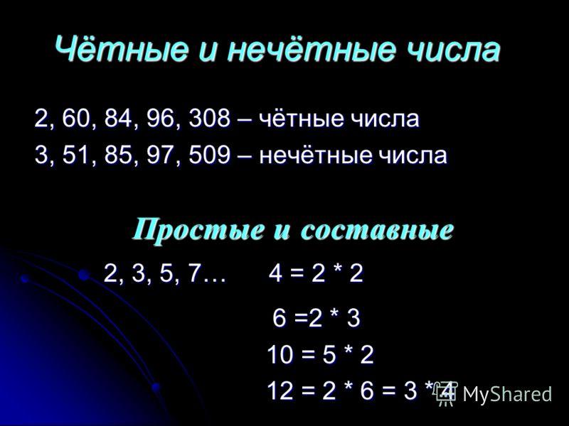 Чётные и нечётные числа 2, 60, 84, 96, 308 – чётные числа 3, 51, 85, 97, 509 – нечётные числа Простые и составные 2, 3, 5, 7… 4 = 2 * 2 6 6 =2 * 3 10 = 5 * 2 12 = 2 * 6 = 3 * 4