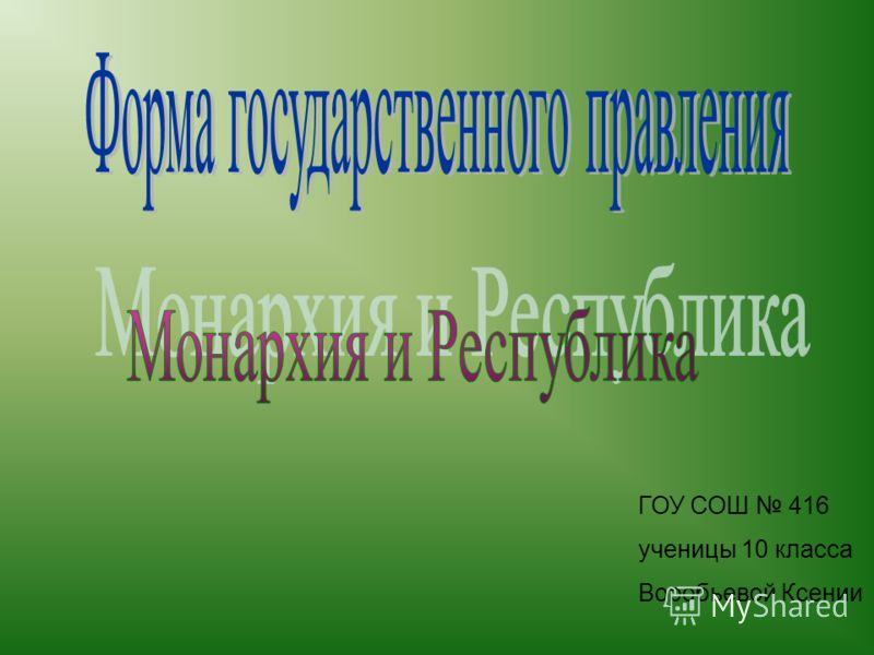 ГОУ СОШ 416 ученицы 10 класса Воробьевой Ксении