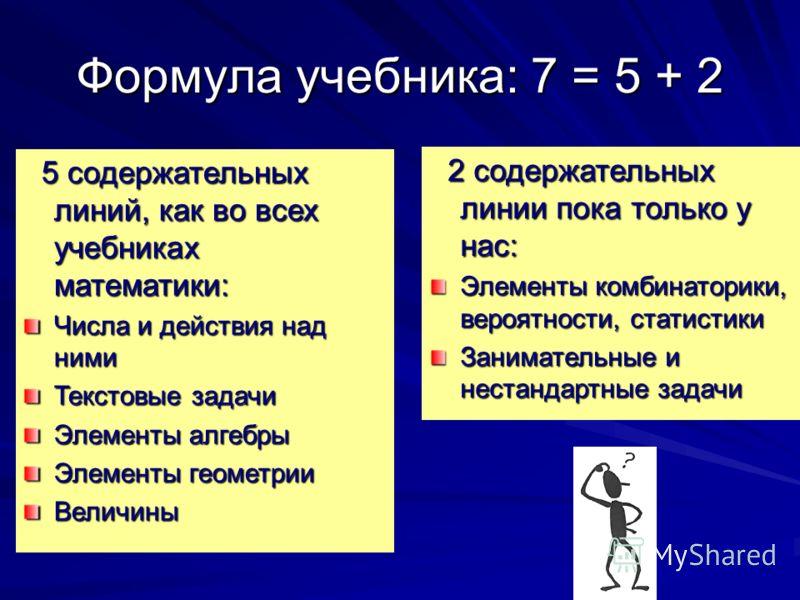 Формула учебника: 7 = 5 + 2 5 содержательных линий, как во всех учебниках математики: 5 содержательных линий, как во всех учебниках математики: Числа и действия над ними Текстовые задачи Элементы алгебры Элементы геометрии Величины 2 содержательных л