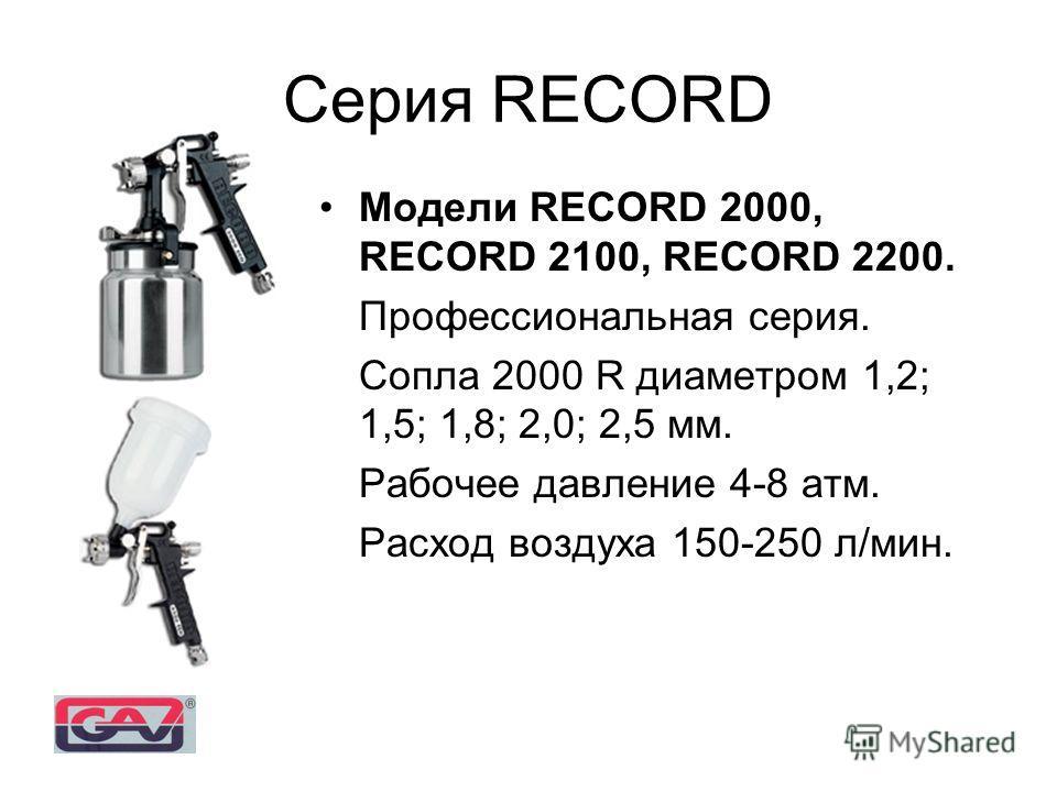 Модели RECORD 2000, RECORD 2100, RECORD 2200. Профессиональная серия. Сопла 2000 R диаметром 1,2; 1,5; 1,8; 2,0; 2,5 мм. Рабочее давление 4-8 атм. Расход воздуха 150-250 л/мин. Серия RECORD