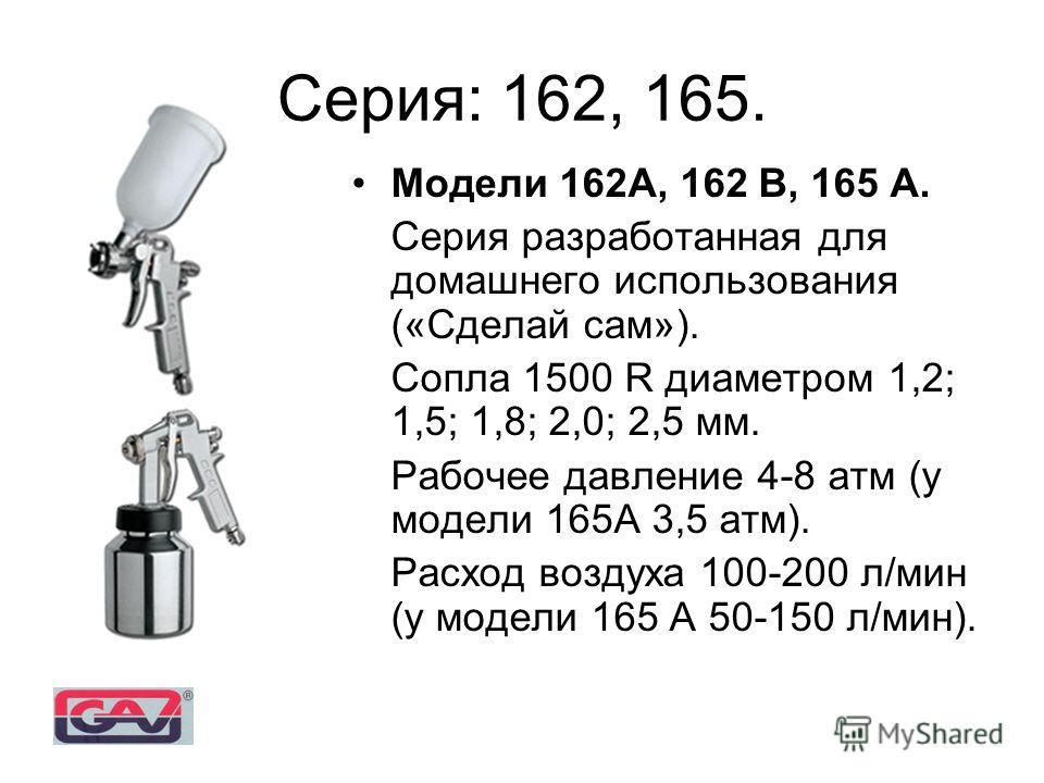 Модели 162А, 162 В, 165 А. Серия разработанная для домашнего использования («Сделай сам»). Сопла 1500 R диаметром 1,2; 1,5; 1,8; 2,0; 2,5 мм. Рабочее давление 4-8 атм (у модели 165А 3,5 атм). Расход воздуха 100-200 л/мин (у модели 165 А 50-150 л/мин)