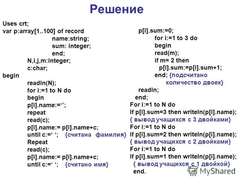 Решение Uses crt; var p:array[1..100] of record name:string; sum: integer; end; N,i,j,m:integer; c:char; begin readln(N); for i:=1 to N do begin p[i].name:=; repeat read(c); p[i].name:= p[i].name+c; until c:= ; {считана фамилия} Repeat read(c); p[i].