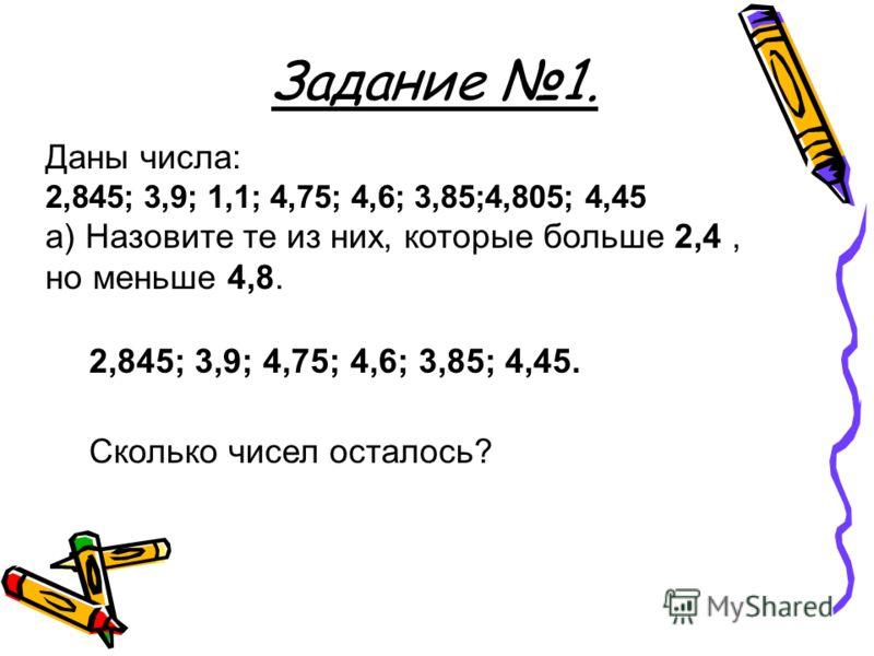 Задание 1. Даны числа: 2,845; 3,9; 1,1; 4,75; 4,6; 3,85;4,805; 4,45 а) Назовите те из них, которые больше 2,4, но меньше 4,8. 2,845; 3,9; 4,75; 4,6; 3,85; 4,45. Сколько чисел осталось?
