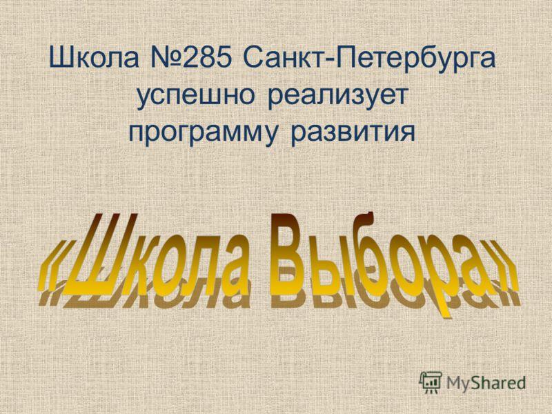 Школа 285 Санкт-Петербурга успешно реализует программу развития