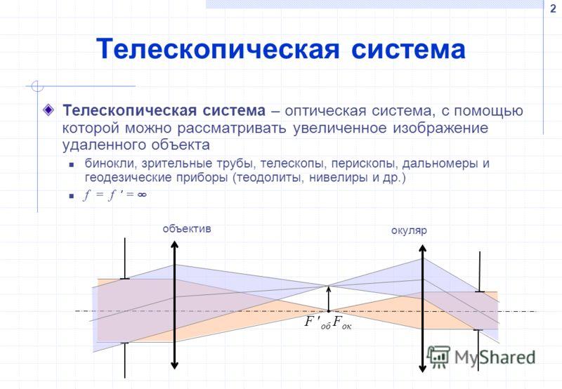 2 Телескопическая система Телескопическая система – оптическая система, с помощью которой можно рассматривать увеличенное изображение удаленного объекта бинокли, зрительные трубы, телескопы, перископы, дальномеры и геодезические приборы (теодолиты, н
