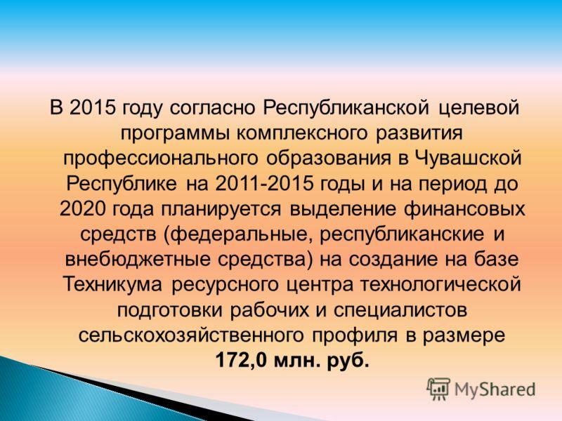 В 2015 году согласно Республиканской целевой программы комплексного развития профессионального образования в Чувашской Республике на 2011-2015 годы и на период до 2020 года планируется выделение финансовых средств (федеральные, республиканские и внеб