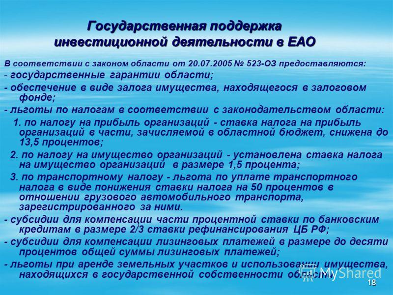 18 Государственная поддержка инвестиционной деятельности в ЕАО В соответствии с законом области от 20.07.2005 523-ОЗ предоставляются: - государственные гарантии области; - обеспечение в виде залога имущества, находящегося в залоговом фонде; - льготы