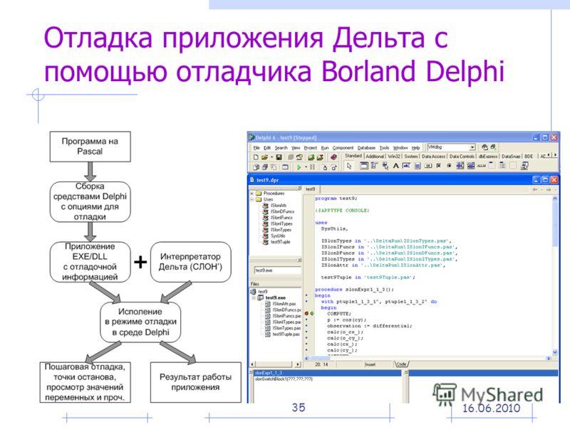 35 Отладка приложения Дельта с помощью отладчика Borland Delphi 16.06.2010