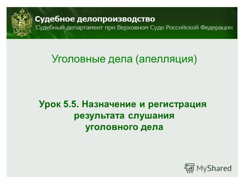 Уголовные дела (апелляция) Урок 5.5. Назначение и регистрация результата слушания уголовного дела