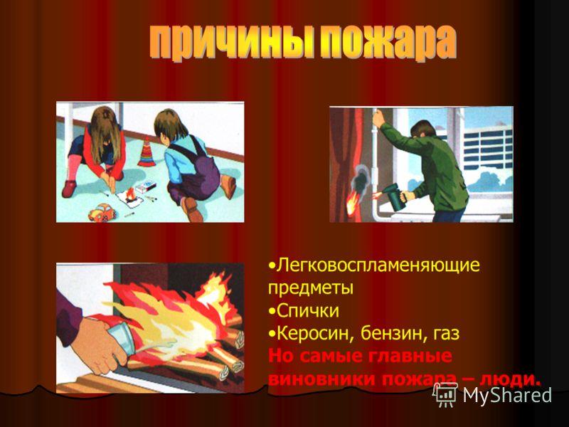 Легковоспламеняющие предметы Спички Керосин, бензин, газ Но самые главные виновники пожара – люди. Легковоспламеняющие предметы Спички Керосин, бензин, газ Но самые главные виновники пожара – люди.