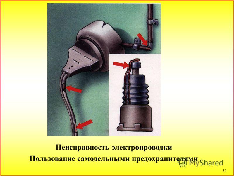 35 Неисправность электропроводки Пользование самодельными предохранителями