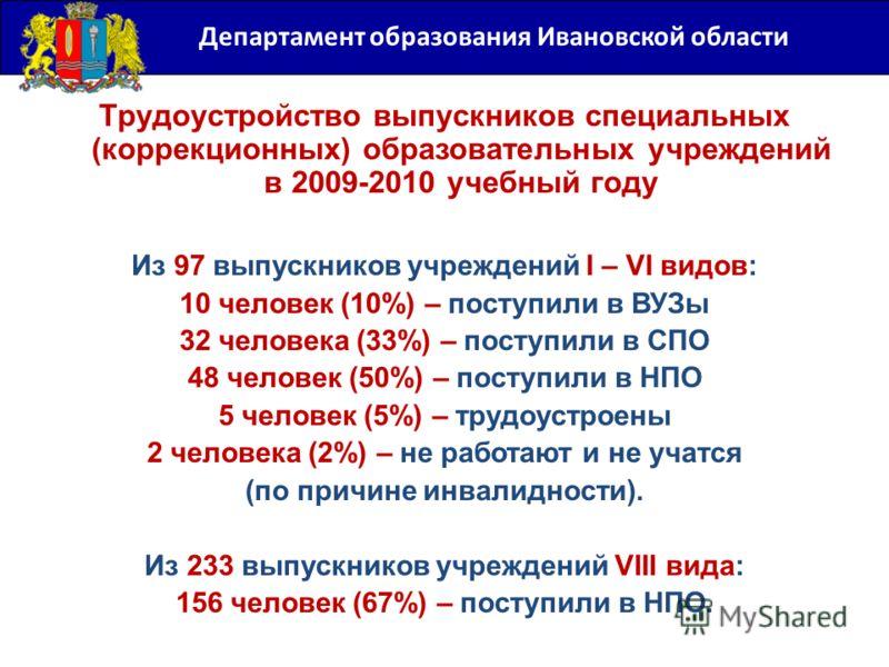 Департамент образования Ивановской области Трудоустройство выпускников специальных (коррекционных) образовательных учреждений в 2009-2010 учебный году Из 97 выпускников учреждений I – VI видов: 10 человек (10%) – поступили в ВУЗы 32 человека (33%) –