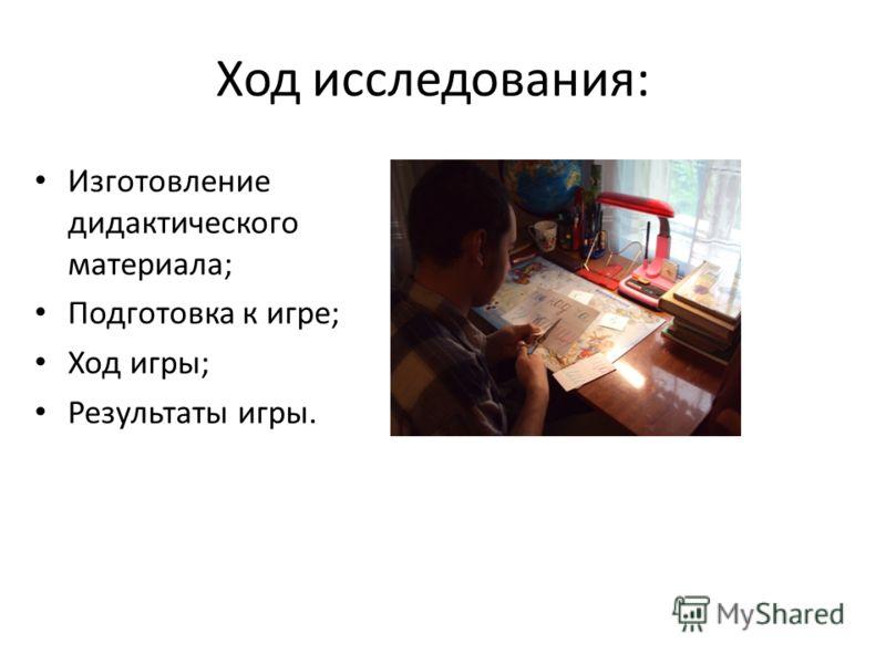 Ход исследования: Изготовление дидактического материала; Подготовка к игре; Ход игры; Результаты игры.