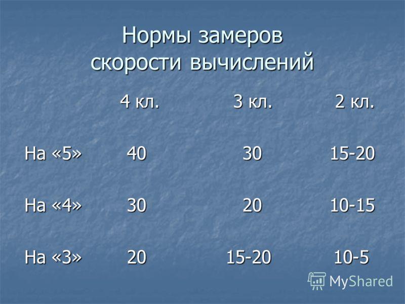 Нормы замеров скорости вычислений 4 кл. 3 кл. 2 кл. 4 кл. 3 кл. 2 кл. На «5» 40 30 15-20 На «4» 30 20 10-15 На «3» 20 15-20 10-5