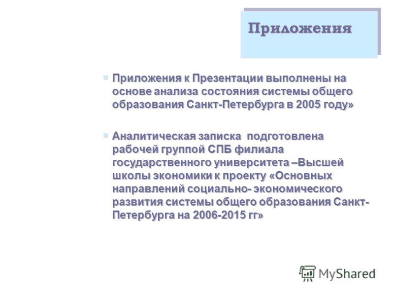 Приложения Приложения к Презентации выполнены на основе анализа состояния системы общего образования Санкт-Петербурга в 2005 году» Приложения к Презентации выполнены на основе анализа состояния системы общего образования Санкт-Петербурга в 2005 году»