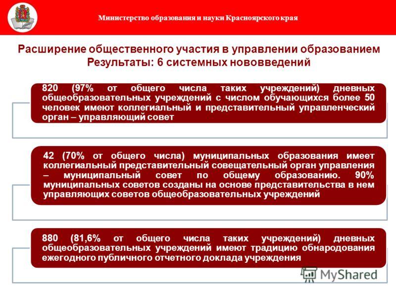 Министерство образования и науки Красноярского края 820 (97% от общего числа таких учреждений) дневных общеобразовательных учреждений с числом обучающихся более 50 человек имеют коллегиальный и представительный управленческий орган – управляющий сове