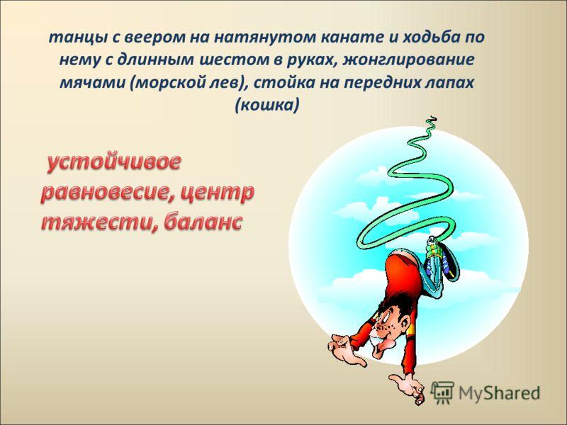 танцы с веером на натянутом канате и ходьба по нему с длинным шестом в руках, жонглирование мячами (морской лев), стойка на передних лапах (кошка)