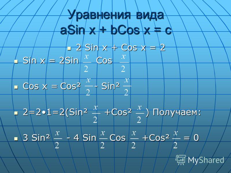Уравнения вида aSin x + bCos x = c 2 Sin x + Cos x = 2 Sin x = 2Sin Cos Cos x =Cos² - Sin² 2=21=2(Sin² +Cos² ) Получаем: 3 Sin² - 4 Sin Cos +Cos² = 0