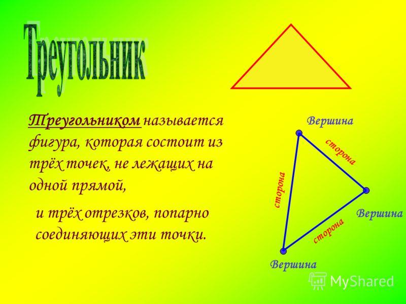 Треугольником называется фигура, которая состоит из трёх точек, не лежащих на одной прямой, и трёх отрезков, попарно соединяющих эти точки. Вершина Вершина Вершина с т о р о н а с т о р о н а с т о р о н а