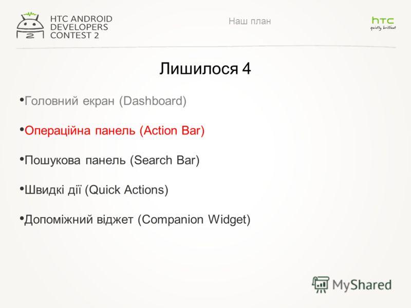 Наш план Лишилося 4 Головний екран (Dashboard) Операційна панель (Action Bar) Пошукова панель (Search Bar) Швидкі дії (Quick Actions) Допоміжний віджет (Companion Widget)