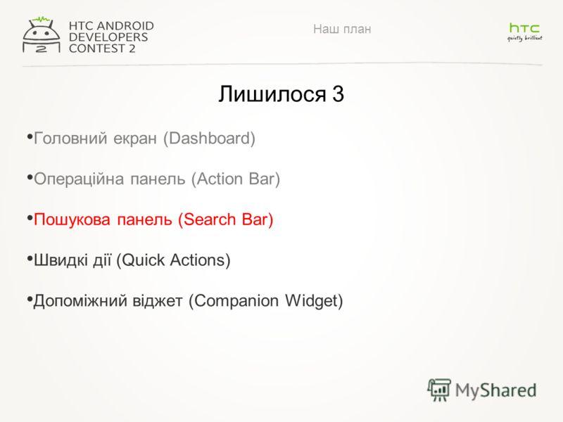 Наш план Лишилося 3 Головний екран (Dashboard) Операційна панель (Action Bar) Пошукова панель (Search Bar) Швидкі дії (Quick Actions) Допоміжний віджет (Companion Widget)