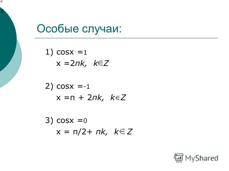 Особые случаи: 1) cosx = 1 x =2πk, k Z 2) cosx = -1 x =п + 2πk, k Z 3) cosx = 0 x = п/2+ πk, k Z