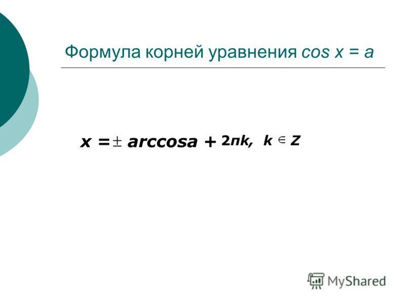 Формула корней уравнения cos x = a x = arccosa + 2πk, k Z