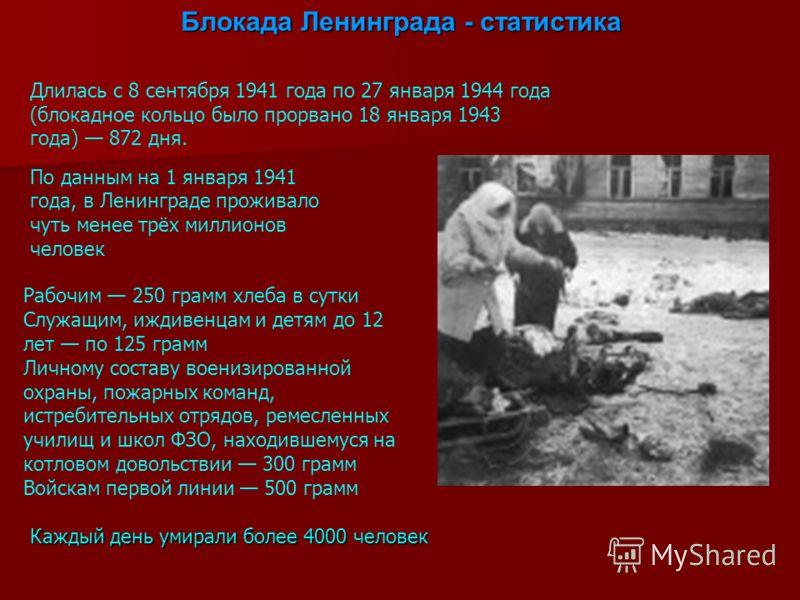 Блокада Ленинграда - статистика Длилась с 8 сентября 1941 года по 27 января 1944 года (блокадное кольцо было прорвано 18 января 1943 года) 872 дня. По данным на 1 января 1941 года, в Ленинграде проживало чуть менее трёх миллионов человек Рабочим 250