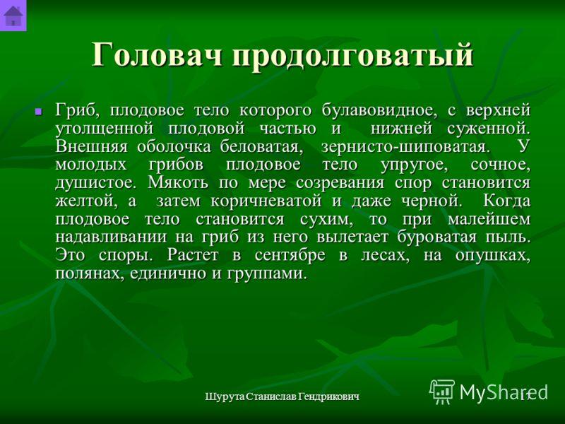 Шурута Станислав Гендрикович16 Головач продолговатый Рис