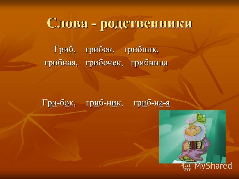 Слова - родственники Гриб, грибок, грибник, Гриб, грибок, грибник, грибная, грибочек, грибница грибная, грибочек, грибница Гри-бок, гриб-ник, гриб-на-я Гри-бок, гриб-ник, гриб-на-я