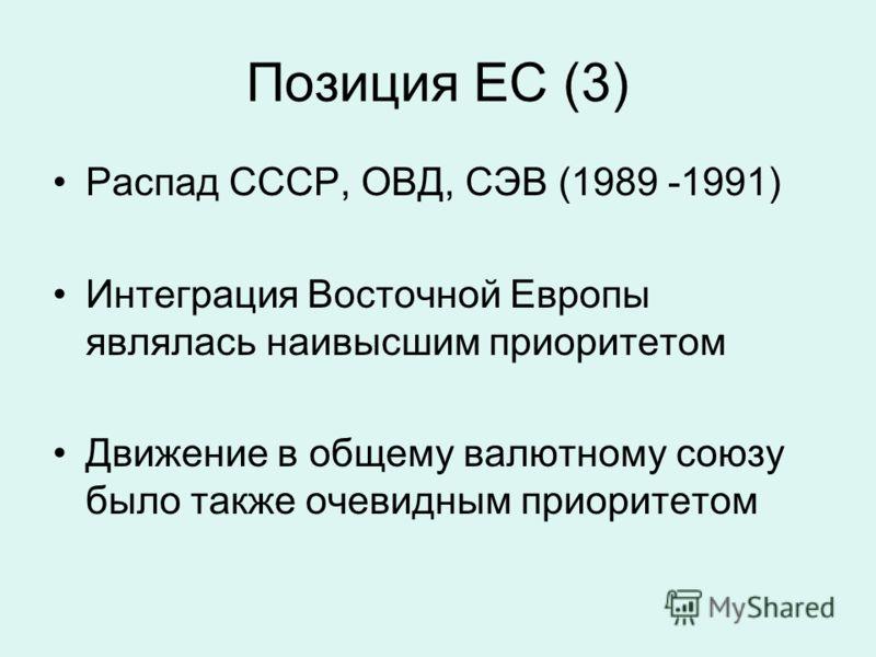 Позиция ЕС (3) Распад СССР, ОВД, СЭВ (1989 -1991) Интеграция Восточной Европы являлась наивысшим приоритетом Движение в общему валютному союзу было также очевидным приоритетом