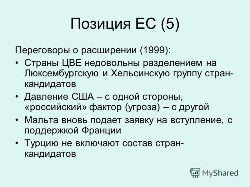 Позиция ЕС (5) Переговоры о расширении (1999): Страны ЦВЕ недовольны разделением на Люксембургскую и Хельсинскую группу стран- кандидатов Давление США – с одной стороны, «российский» фактор (угроза) – с другой Мальта вновь подает заявку на вступление