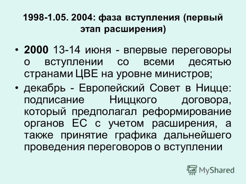 1998-1.05. 2004: фаза вступления (первый этап расширения) 2000 13-14 июня - впервые переговоры о вступлении со всеми десятью странами ЦВЕ на уровне министров; декабрь - Европейский Совет в Ницце: подписание Ниццкого договора, который предполагал рефо