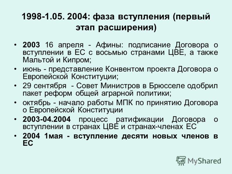 1998-1.05. 2004: фаза вступления (первый этап расширения) 2003 16 апреля - Афины: подписание Договора о вступлении в ЕС с восьмью странами ЦВЕ, а также Мальтой и Кипром; июнь - представление Конвентом проекта Договора о Европейской Конституции; 29 се