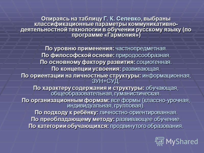Опираясь на таблицу Г. К. Селевко, выбраны классификационные параметры коммуникативно- деятельностной технологии в обучении русскому языку (по программе «Гармония») По уровню применения: частнопредметная. По философской основе: природосообразная. По