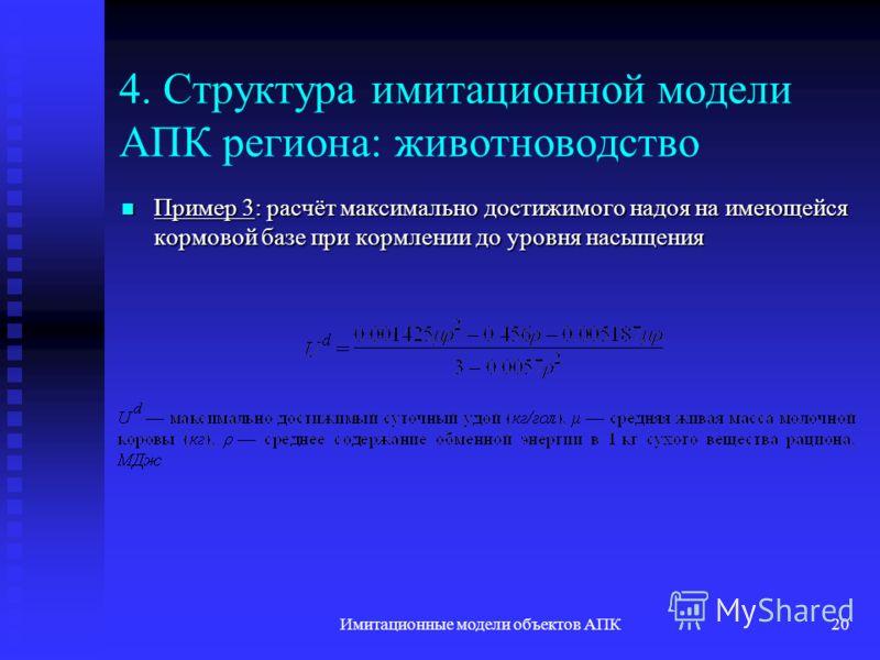 Имитационные модели объектов АПК20 4. Структура имитационной модели АПК региона: животноводство Пример 3: расчёт максимально достижимого надоя на имеющейся кормовой базе при кормлении до уровня насыщения Пример 3: расчёт максимально достижимого надоя